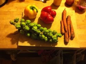 ein Strunk Kohlsprossen, zwei Paprika und einige Karotten