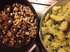 Petersilkartoffeln mit Champignons und Räuchertofu